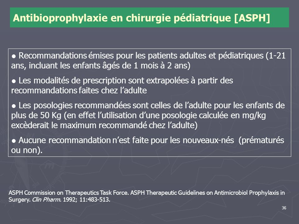 Antibioprophylaxie en chirurgie pédiatrique [ASPH]